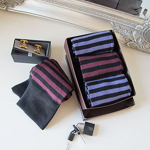 Stripy Bamboo Socks Gift Box - men's fashion