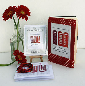 'Call Me' Red Phone Box Cross Stitch Kit - sewing kits