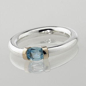 Sterling Silver Gem Set Tension Ring - rings