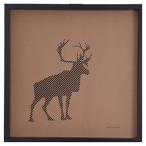 Laser Cut Standing Stag Paper Artwork