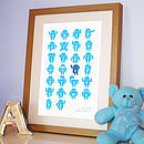 Personalised Robot Alphabet Print Blue on White