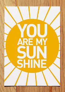 'You Are My Sunshine' Postcard - cards