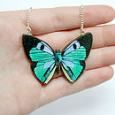 Jade Wooden Butterfly Necklace