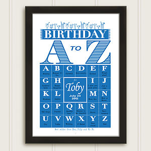 Personalised A-Z Birthday Print