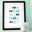 Personalised Multi Memorable Date Print Blue