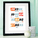 Personalised Multi Memorable Date Print Orange
