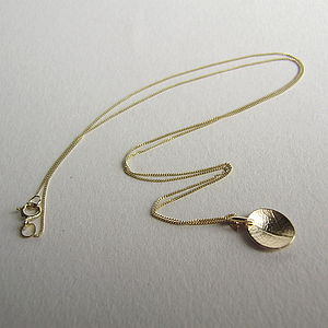 9ct Gold Mini Dish Leaf Necklace - necklaces & pendants