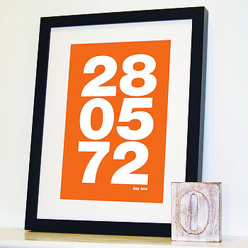 Personalised Memorable Date Bold Print Orange