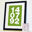 Personalised Memorable Date Bold Print Green