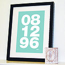 Personalised Memorable Date Bold Print Blue