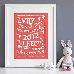 Personalised Bunting Birth Print - children's pictures & paintings
