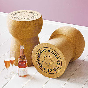 Champagne, Cava + Prosecco Cork Side Tables £50 Off - best personalised corporate gifts