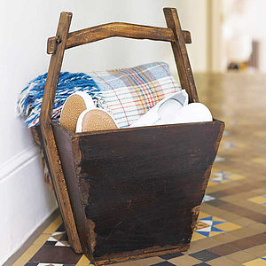 Reclaimed Wooden Bucket - magazine racks