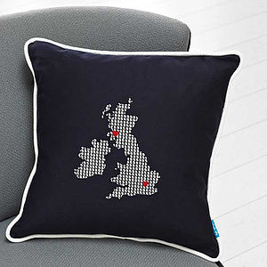 Embroidered UK And Ireland Cushion