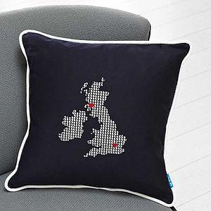 Embroidered UK And Ireland Cushion