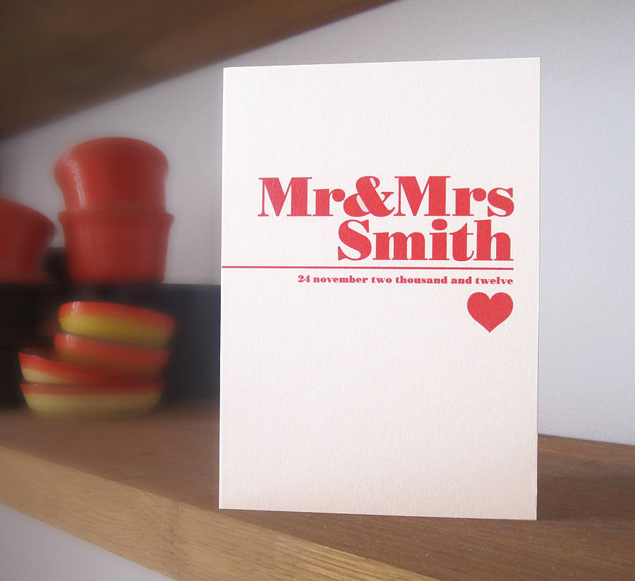 Personalised Wedding Gifts Glasgow : personalised modern wedding card by lovat press notonthehighstreet ...