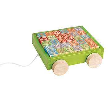 Wooden Toy Alphabet Blocks And Wagon