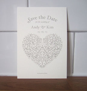 Heart Vintage Style Save The Date Card - wedding stationery