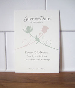 Thistle And Rose Save The Date Card - wedding stationery