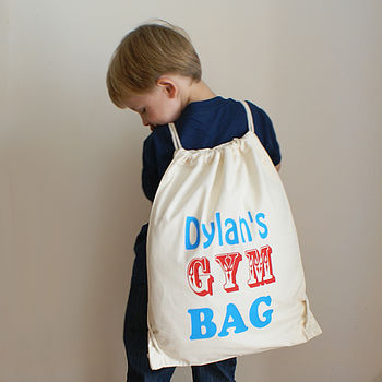 Personalised Children's Cotton Gym And Activities Bag