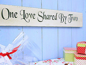 Wedding Gift Wood Love Painted Plaque