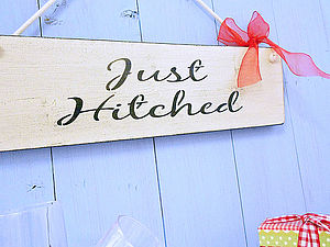 Wedding Sign 'Just Hitched' Vintage Plaque - home sale