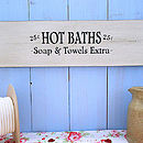 Vintage Style Wooden Bath And Shower Sign
