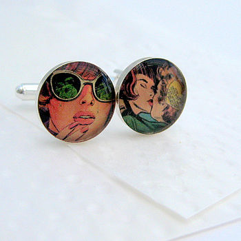 'Sealed With A Kiss' Pop Art Cufflinks