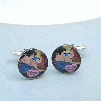 'Happy End' Pop Art Cufflinks