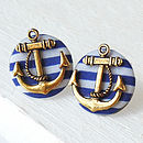 Gold Anchor Button Earrings