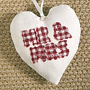 personalised mr & mrs heart, cream with red