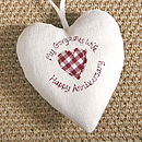 personalised wedding anniversary heart, cream with check