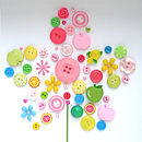 Personalised Baby Girl Button Flower Artwork