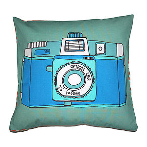 Holga Camera Cushion Blue - living room
