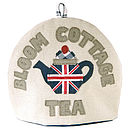 personalised union jack cottage tea cosy