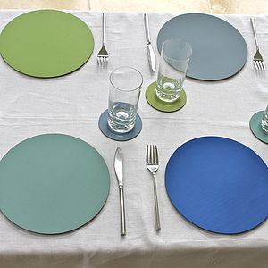 Set Of Four Leather Placemats - placemats & coasters
