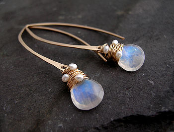 Moonstone And Pearl Hoop Earrings