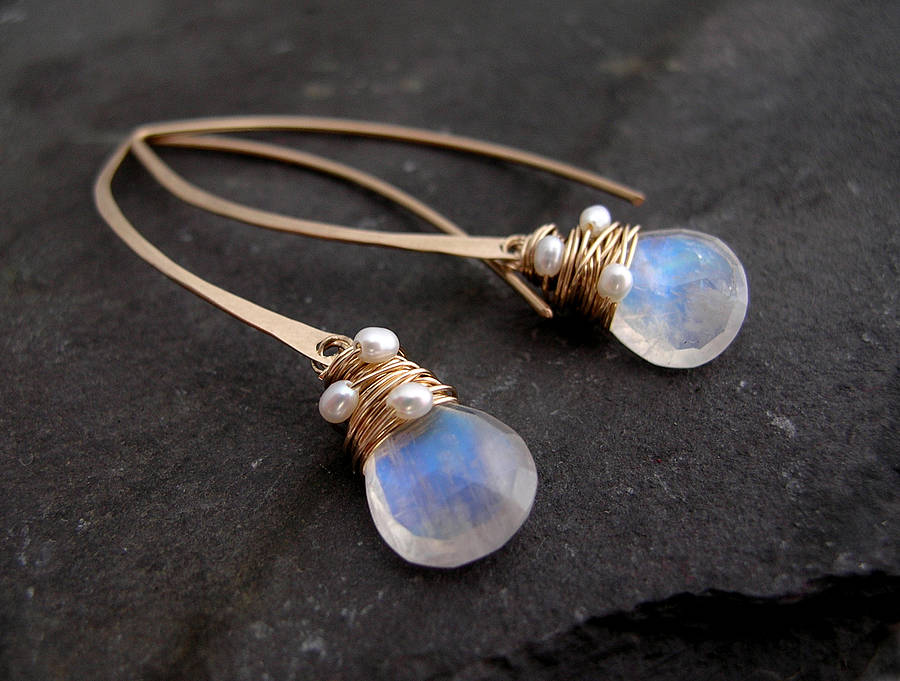 Favorite moonstone and pearl hoop earrings by sarah hickey  ND99