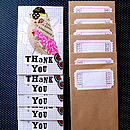 Pack Of Six 'Thank You' Birdie Notes
