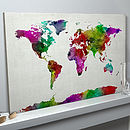 World Map Watercolour Art Print