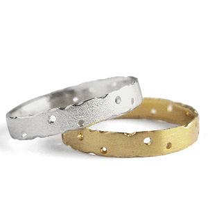 9Ct Gold And Silver Ring Set - gold