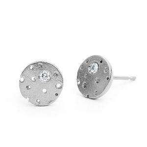 Silver Diamond Earrings - april birthstone