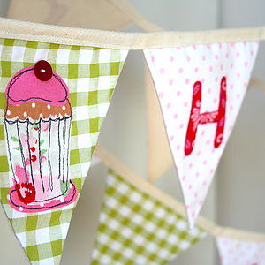 Handmade Girl's Cupcake Personalised Bunting - children's room accessories