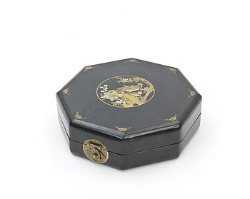 Black Leather Octagonal Jewellery Box