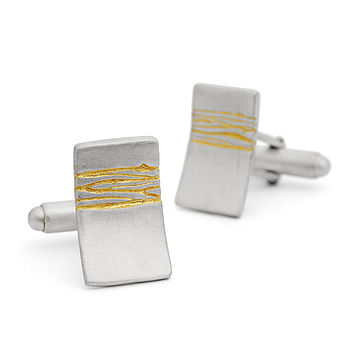 Etched Silver And Gold Cufflinks