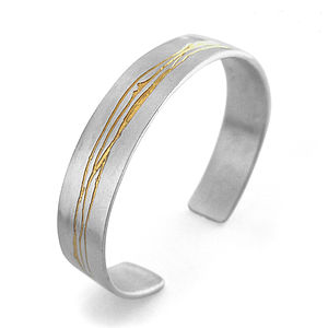 Silver Cuff With 22ct Gold Detailing - bracelets