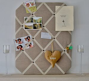 Natural Linen Fabric Notice Board - storage & organisers