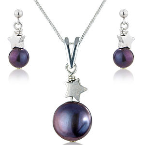 Peacock Pearl Pendant And Earrings Set - women's jewellery