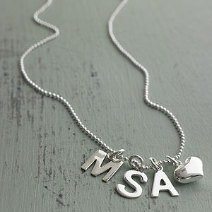 Personalised Initial Necklace With Heart - children's jewellery