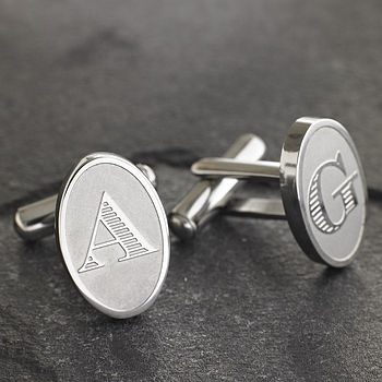 Monogrammed Etched Cufflinks And Keyring